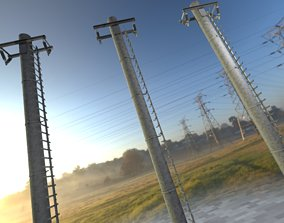 3D model Iron Power Pole with ladder - Objekt 064