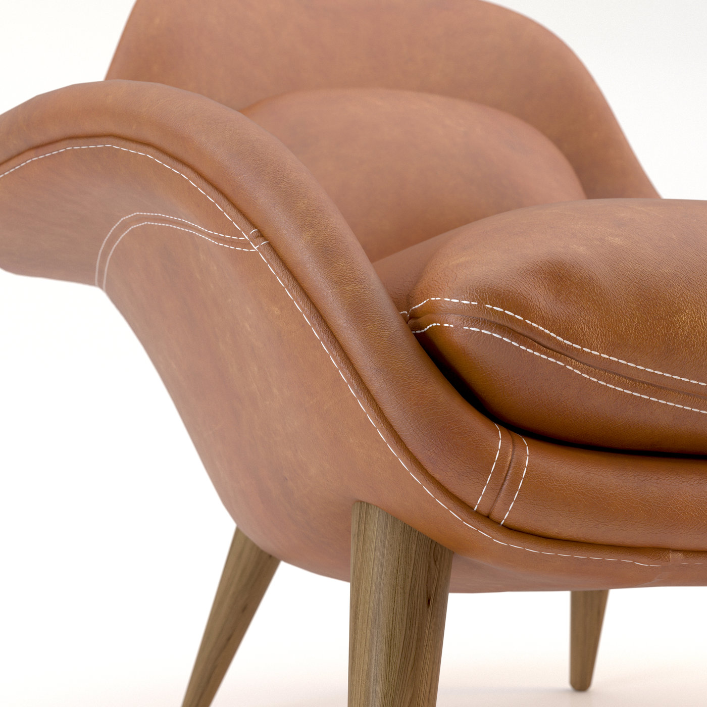 leather and white fabric arm chair