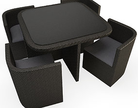 3D Wicker Outdoor Table and Armchair