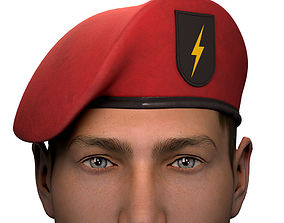 Military Red Beret of Army Special Forces with 3D model 1