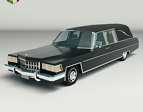 Low Poly Hearse Car 3D asset