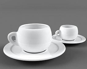 3D Coffee cup and plate
