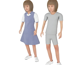 Girl real cloth simulation conversation loop 3D model 2