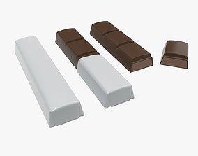 3D Chocolate bars with half broken packaging