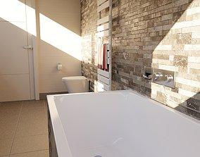 3D model low-poly Bathroom scene