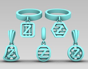 Initial letter charm with 5 3D print model 5