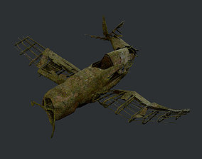 Plane Wreck Damaged Apocalyptic Game Ready 02 3D model