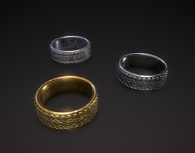 3D model Gold silver and iron rings