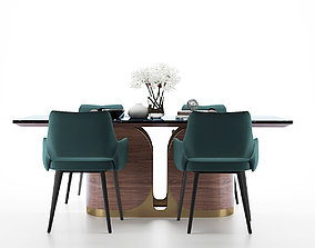 Modern dining table and chair 3D model seat