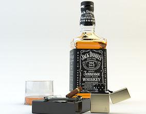 Jack Daniels and Zippo cigar 3D