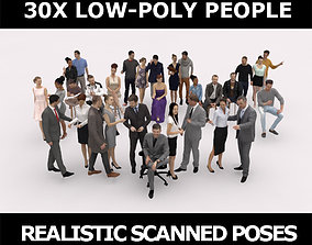 3D asset 30x LOW POLY CASUAL CAFE VOL02 BUSINESS PEOPLE