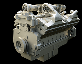 DIESEL ENGINE QSKV60 LONG BLOCK 3D model