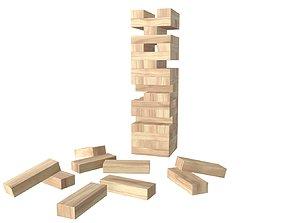 3D model Tower blocks game wooden