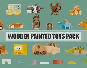 Wooden painted toys pack 3D model