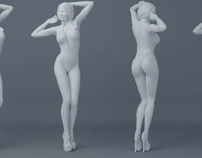 Ponytail hair girl wear bikini 002 3D print model