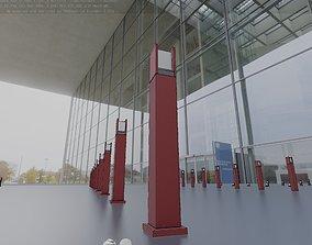 3D model Street Light 8 Bollard 900mm Dark Red Version 1