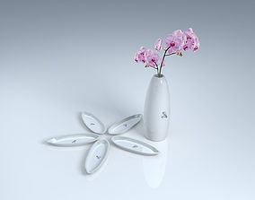flora White ceramic orchid dish 3D Model