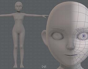 Base mesh girl characterV06 3D asset