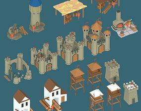Low Poly Medieval Buildings Part 1 3D asset