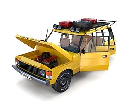 3D model Range Rover Classic with chassis and interior