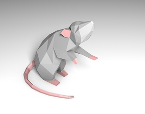 low poly mouse in standing position 3D print model