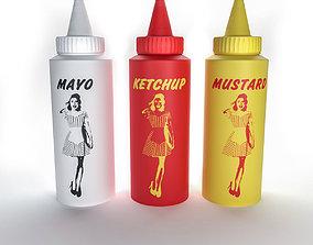 Ketchup Mustard Mayonnaise 3D