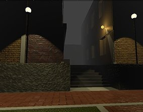3D model house street alley