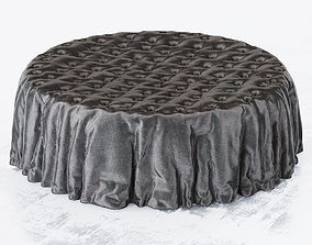 Round cloth pouf 3D
