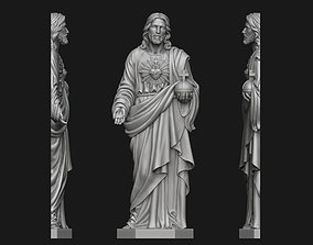 3D printable model Jesus with Sacred Heart Relief no 2