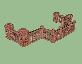 indian jodhpuri stone railing with balester 3d rigged
