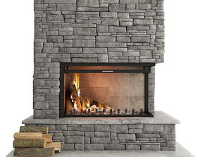 3D model minimalism Stone Fireplace
