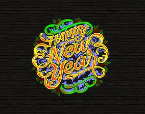 3D model year Happy New Year Sign - Word Art -1-