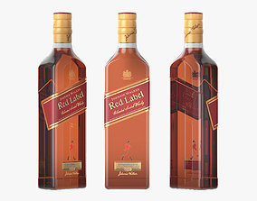 Red Label Whiskey bottle label 3D model