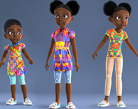 3D AFRO GIRL - RIGGED CARTOON CHARACTER