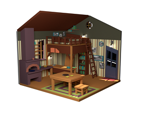 interior Cartoon house 3D asset