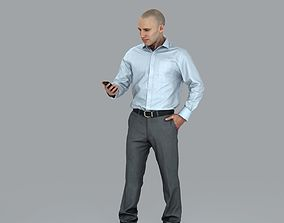 3D model Bold Business Man Looking at Phone