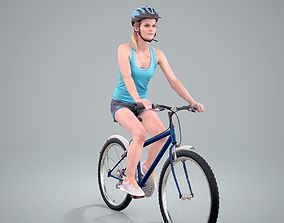 3D Blue Wearing Sporty Woman on a Bicycle