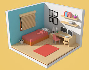 Low-poly Cartoon Bedroom Pack computer 3D asset
