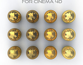 12 Gold Materials for Cinema4d 3D