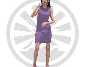 Okino Mikawa - Purple Dress 3D asset