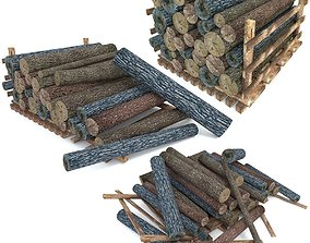 3D model Wood Log Pack Low Poly