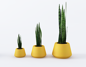 3D model Yellow pots set with plants