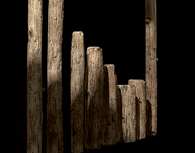 Old Wooden Poles and Planks 3D asset