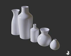 Set of White Ceramic Vases 3D model