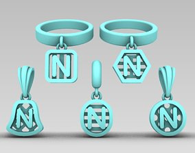 3D printable model Initial letter charm with 5 different 4