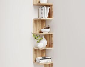 Corner shelf with decor 3D