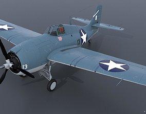 GRUMMAN F4F-3 WILDCAT 13 3D model rigged