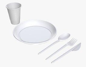 3D model Plastic vessel set plate knife spoon cup