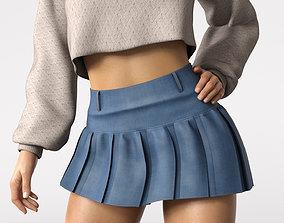 3D asset Denim mini skirt
