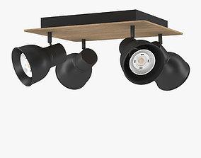 unity 3D model Ceiling LED spots wood